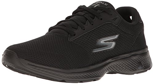 Skechers Performance Men's Go Walk 4 Lace-up Walking Shoe,Black Knit,10.5 M US