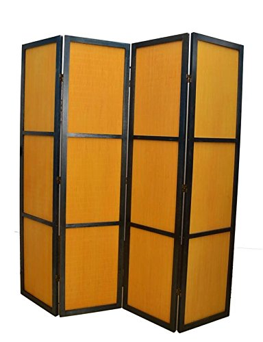 Urnporium Room Divider 4 Panels with Solid Paulownia Wood Frame and Bamboo Panels Oriental Partition Screen by Urnporium