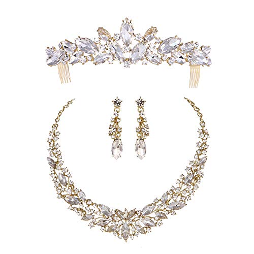 Youfir Austrian Crystal Rhinestone Bridal Wedding Necklace and Earrings and Tiaras with Combs Jewelry Sets for Women (Three-Piece Gold ()