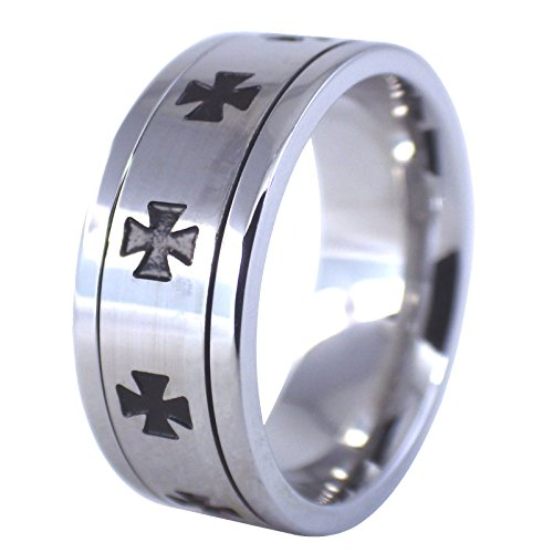 Mens Maltese Iron Cross Knights Templar Ring 316L Stainless Steel Band Size 12