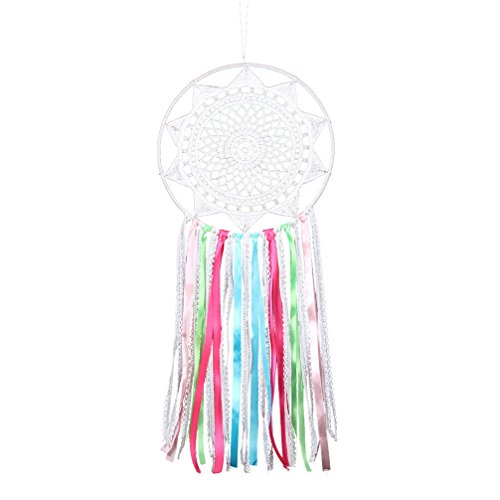 Handmade Ribbon Tassel Dream Catcher - Traditional Wall Hanging Decoration Ornament Gift (Colorful Ribbon lace Dream cathcer)