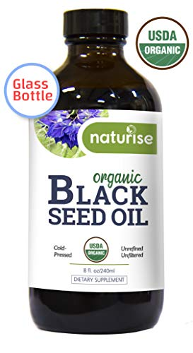 (Naturise Black Seed Oil Organic Cold Pressed, Black Cumin Seed Oil Nigella Sativa GLASS BOTTLE (8 oz) Source of Essential Fatty Acids, Omega 3 6 9, Antioxidant for Immune Boost, Joints, Skin, & Hair)