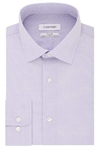 Calvin Klein Men's Dress Shirt Regular Fit Non Iron Stretch Solid, Lilac, 16