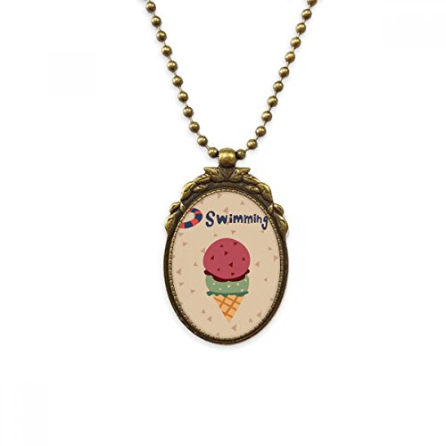 DIYthinker Summer Swimming Buoy Sweet Ice Cream Antique Brass Necklace Vintage Pendant Jewelry Deluxe Gift