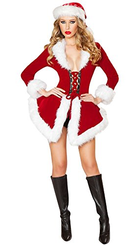 Mrs Claus Robe (Drasawee Women's Miss Santa Suit Christmas Holiday Costume Robe Jacket & Hat)