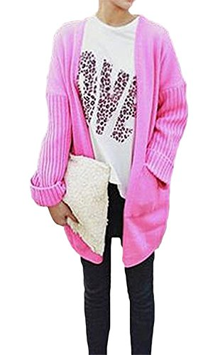[WANabcMAN Graceful Front Pocket Women Solid-Colored Cardigan Sweater Rose RedOne Size] (Celebrities To Dress Up As)