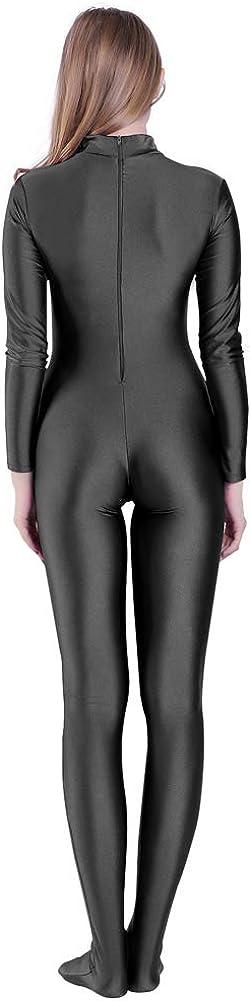 Kepblom Unisex Turtleneck Costume Unitard Spandex Long Sleeve Footed Bodysuit Zentai Suit