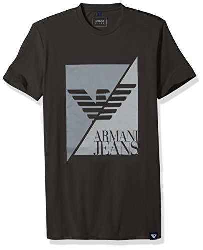 ARMANI JEANS Men's Plus Size Split Eagle Logo T-Shirt, Dark Grey, Medium