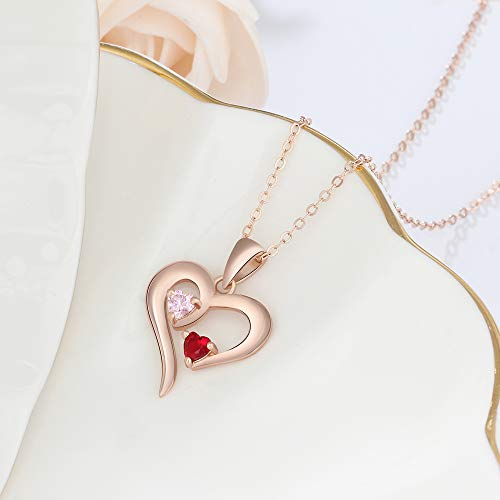 Personalized 2 Names Simulated Birthstones Necklaces 2 Couple Hearts Name Engraved Pendants for Women £¨Rose Gold by Love Jewelry (Image #5)