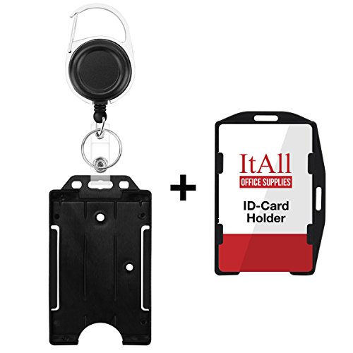 Hard Plastic Clip (Retractable Badge Holder, Hard Plastic ID Card Holder with Carabiner Reel Clip, Open Face Vertical or Horizontal, Black)