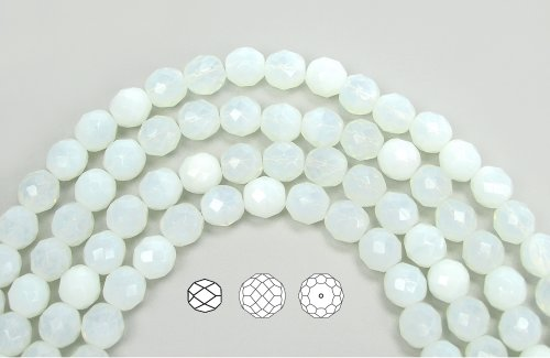 Genuine White Sea Glass (10mm (41) White Opal Sea Foam, Czech Fire Polished Round Faceted Glass Beads, 16 inch)