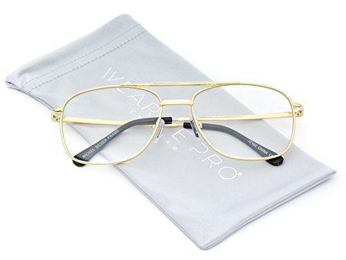 WearMe Pro - Full Metal Aviator Rectangular Clear - Clear Aviator Fake Glasses