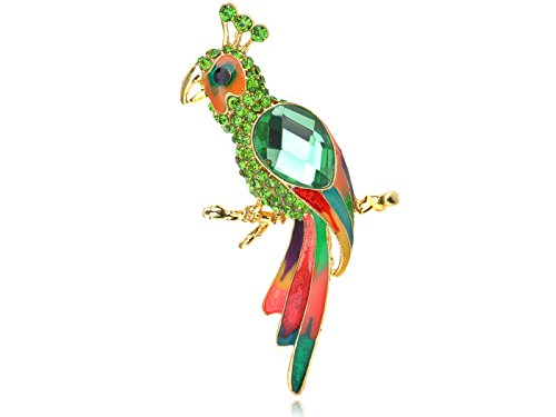 (Alilang Golden Tone Green Rhinestones Enamel Tropical Parrot Bird Brooch Pin )