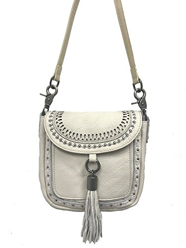 Tassel Messenger Real Body West Flap Cross Montana Leather with Beige Bag Purse qSv7xg