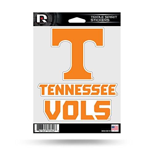 Rico Industries NCAA Tennessee Volunteers Die Cut 3-Piece Triple Spirit Sticker Sheet
