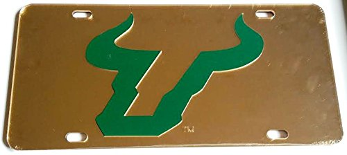 South Florida Bulls Gold Green Mirrored Car Tag - USF License Plate Gold Mirrored License Plate