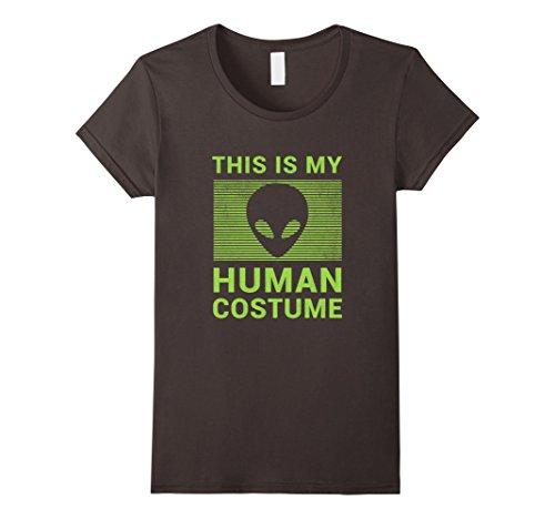 Womens Funny Alien Halloween Shirt Easy Costume for Women Men Boys Medium Asphalt