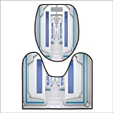Bathroom Non-Slip Rug Set Robotic Space Mission Vehicle Solar System Journey to Universe Milky Way for Blue White. in Bath Mat Bathroom RugsL24 x W19-W15 x H18