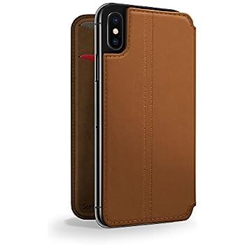 brand new 141b5 ef534 Twelve South SurfacePad for iPhone X | Slim luxury leather folio with  wake/sleep functionality (cognac)