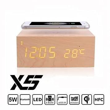 Mini x5 madera nfc qi transmisor cargador despertador ...