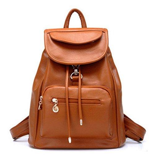 Women Ladies Backpack Fashion Shoulder Bag Rucksack Vintage PU Leather Travel SchoolBag Brown-04