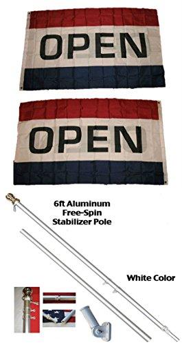 K's Novelties 3x5 Open 2ply Flag w/ 6ft Spinning Stabilizer