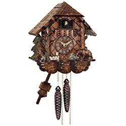River City Clocks One Day Cuckoo Clock Cottage with Hand Carved Bear