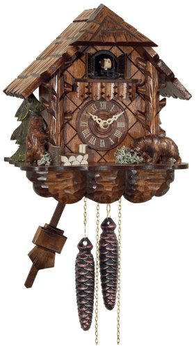 River City Clocks One Day Cuckoo Clock Cottage with Hand Carved ()