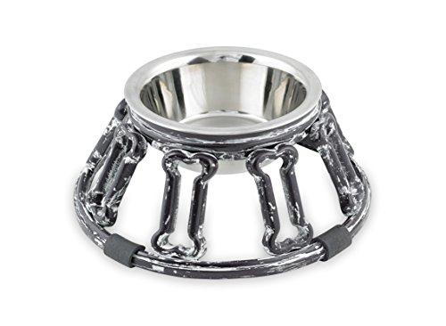 (Cast Aluminum Dog Stainless Bowl W/Antique Finish – Bones)