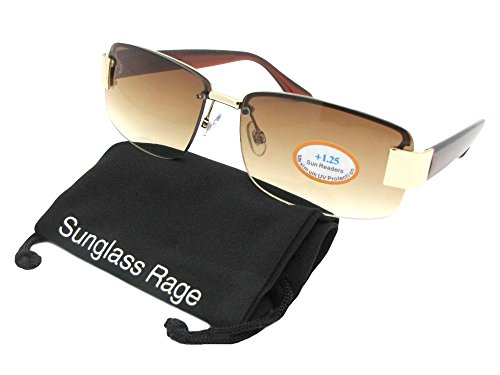 R43 Fashion Full Reader Lens Reading Sunglasses With Sunglass Rage Pouch (Gold Frame-Brown Lenses, - Sunglasses 0.75