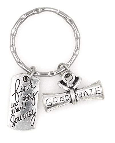 It's All About...You! Find Joy in The Journey Graduate Graduation Scroll Diploma Keychain 106H College Seal Jewelry Pendant