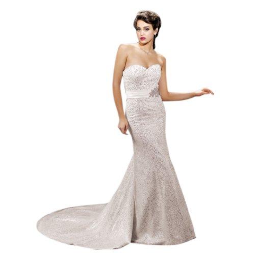 - Dearta Women's Mermaid/Trumpet Sweetheart Court Train Tulle Dress US 18 White