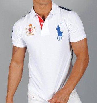 6592fea3c6d7f0 Polo Ralph Lauren Poloshirt  quot MERCER quot  zweifarbig Weiß Blau Fancy  Multi Größe S