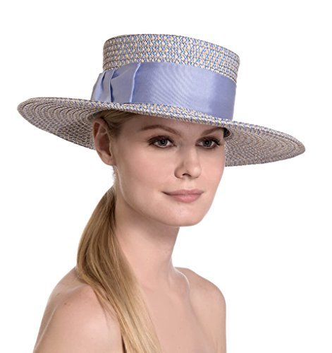 Eric Javits Luxury Fashion Designer Women's Headwear Hat - gondolier - Cream/Blue Tweed by Eric Javits