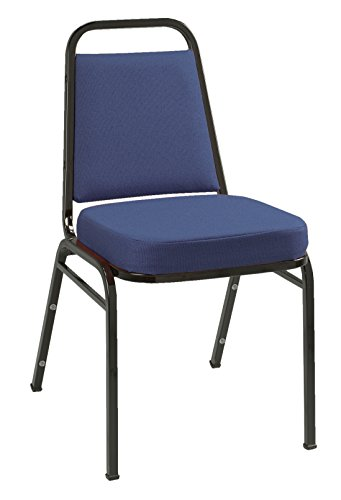 KFI Seating IM820 Armless Stacking Chair, Commercial Grade, 2-Inch, Blue Fabric/Black Frame