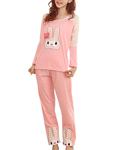 Cinyifan Cute Rabit Printed long Sleeve Sleepwear Pajamas Set For