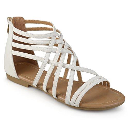 Journee Collection Womens Flat Gladiator Sandals White, 8 Regular US