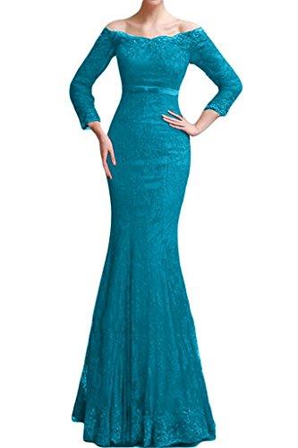 Damen Abschlussballkleider Promkleider Langes Braut Meerjungfrau Abendkleider Marie Spitze Blau La Eg0ZqZ