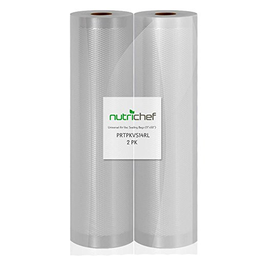 NutriChef Vacuum Sealer Bags, 2 Pack 11x50 Commercial Grade Food Storage Sealer Rolls, Create Your Own Size Bag! For NutriChef, Foodsaver, and Other Brands. (Best Commercial Grade Vacuum Sealer)