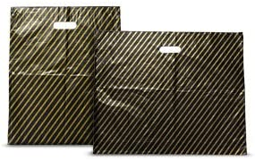 ODL Packaging 1000 Plastic Carrier Bags Black /& Gold Stripe 9 x 11