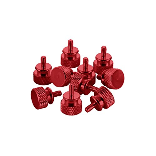 Waggs Customs Anodized Aluminum Thumbscrews 10 Pack - UNC 6-32 (Red)