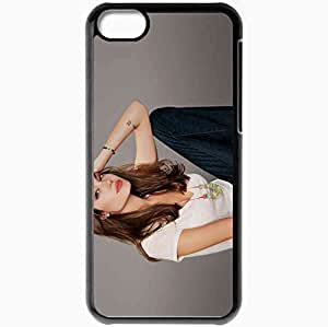 Personalized iPhone 5C Cell phone Case/Cover Skin Angelina jolie actresses famous for being star of kung fu panda and wanted and changeling Black