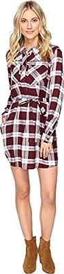 Brigitte Bailey Womens Baron Plaid Shirtdress
