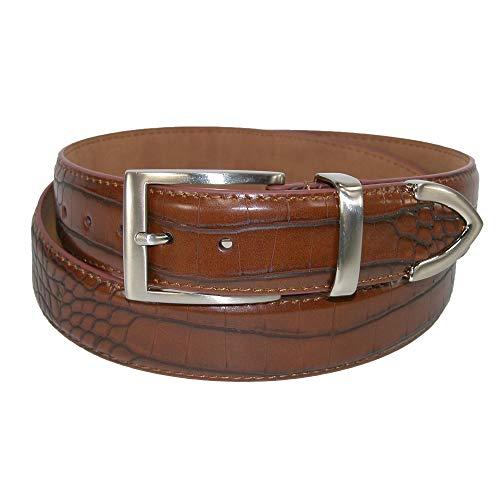 PGA Men's Croco Print 3 Piece Leather Belt, 40, Brown