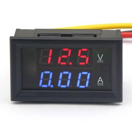 DROK Mini DC 4.5-30V/5A Digital VA Volt Ampere Meter Voltage Current Measurement Red/Blue LED Tester, Built-in Shunt