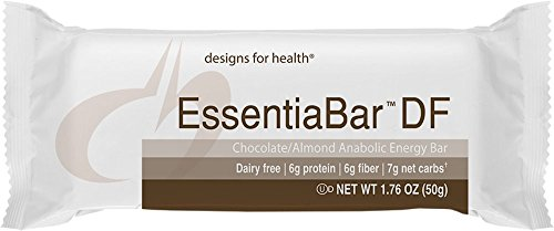 Designs For Health   Essentiabar Chocolate Almond  Paleobar    Dairy Free Protein Base  No Artificial Sweeteners  18 Bars