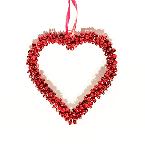 Ornament House Wreath (Whole House Worlds The Mini Welcome Wreath Heart, Rustic Red, Iron Bells, Decorative Ornament for Doors, Windows, and More, 5 Inch Inch by)