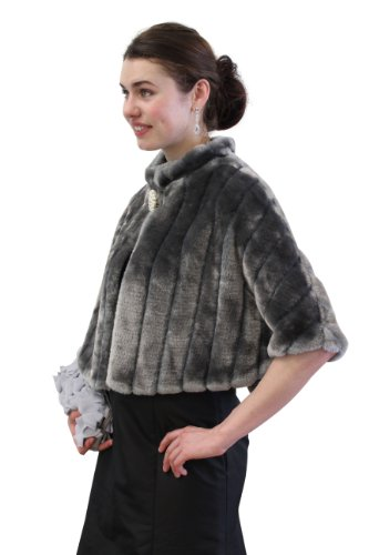 - Tion Design Gray Faux Fur Mink Cape,Grey,Medium