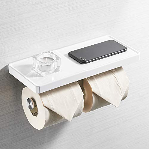 AIMADI Double Toilet Paper Holder with Shelf - ABS Stainless Steel 2-in-1 Wall Mount Bathroom Tissue Paper Roll Holder with Mobile Phone Storage Shelf Rack