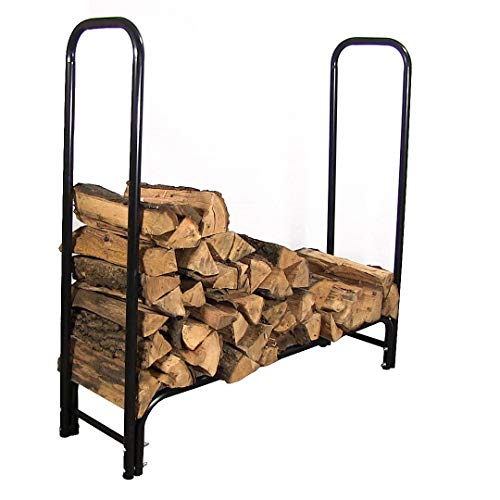Sunnydaze 4-Foot Firewood Log Rack ONLY, Outdoor Fireplace Wood Stacker Storage Holder, Black